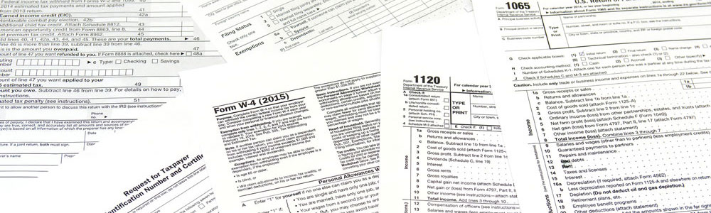 Taxpayer forms, form W-4, 1120, 1065. Financial forms